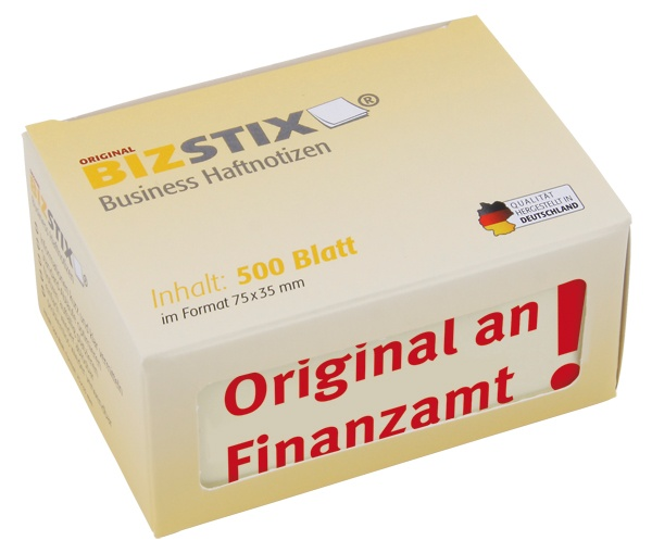 "BIZSTIX® Business Haftnotizen ""Original an Finanzamt"""
