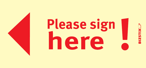 "BIZSTIX® Business Haftnotizen ""Please sign here!"""
