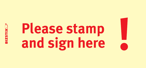 "BIZSTIX® Business Haftnotizen ""Please stamp and sign here!"""